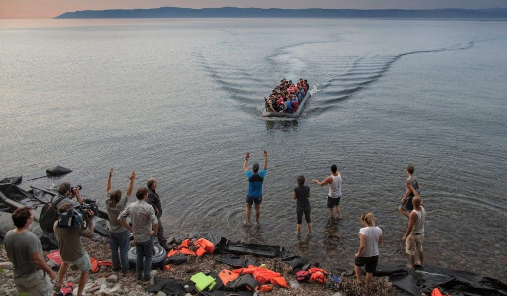 Syrian refugees arriving in Lesvos